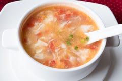 Soppa för traditionell kines med tomater och ägget i en vit platta grunt djupfält Royaltyfri Foto