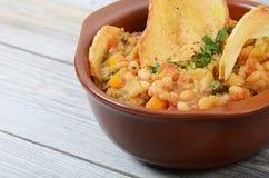 Soppa från grönsaker och en radböna med torkat korn gå i flisor Arkivbild