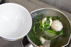 Soppa för fiskboll Royaltyfri Foto