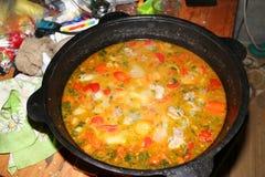 Soppa i en kittel royaltyfri fotografi