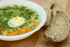 Soppa med ägget, grönsaker Royaltyfria Foton
