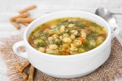 Soppa med bönor med dill Royaltyfri Foto