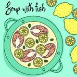 Soppa med fisk- och citronhandattraktion vektor illustrationer