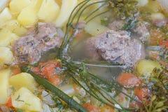 Soppa med köttpotatismoroten på lägerbrasan fotografering för bildbyråer