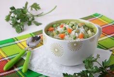 Soppa med ris, gröna ärtor och morötter Royaltyfria Bilder