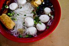Soppanudel med fiskbollen Royaltyfri Foto