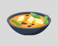 Soppaplatta i bunken som isoleras på läckert för vit mat för bakgrundsfrukost sund varmt och vegetariskt gryngarneringbröd royaltyfri illustrationer