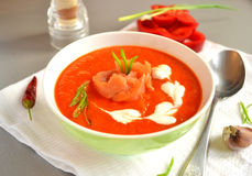 Soppapuré bakade röd spansk peppar, linsen och pumpa Arkivbilder