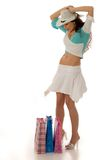 Sopping. Attractive young woman with shopping bags royalty free stock photos