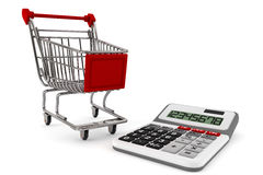 Sopping Cart with Calculator. On a white background stock photo