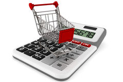 Sopping Cart with Calculator. On a white background royalty free stock images