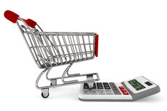 Sopping Cart with Calculator. On a white background stock images