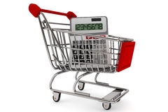 Sopping Cart with Calculator Royalty Free Stock Photos