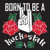 Sopportato essere un rock star - manifesto di festival rock con la mano 3d della roccia Immagini Stock Libere da Diritti