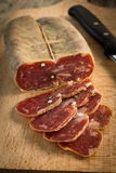 Soppressata, Italian Salami. Slices of typical italian pork salami Stock Image
