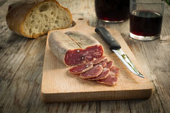Soppressata, Italian Salami. Slices of typical italian pork salami Royalty Free Stock Image