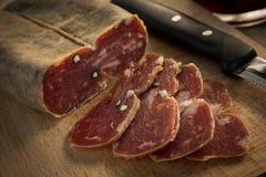 Soppressata, Italian Salami. Slices of typical italian pork salami stock images