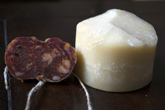 Soppressata and parmigiano cheese Stock Photography