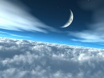 Sopra il cielo lunare celestiale delle nubi Fotografia Stock Libera da Diritti