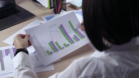 Sopra il colpo della spalla di giovane donna di affari nella riunione delle idee sostenibili di discussione indicate grafico in c video d archivio