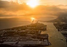 Sopra l'Hokkaido, il Giappone fotografie stock libere da diritti