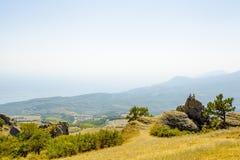 Sopra la montagna Demerdzhi Fotografia Stock