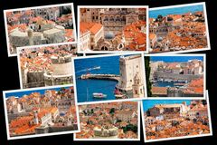 Sopra la vecchia città di Ragusa collage Fotografie Stock