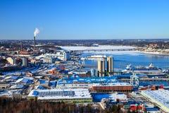 Sopra la vista del porto di Stoccolma Fotografia Stock