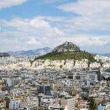 sopra la vista della città di Atene con il monte Licabetto Immagine Stock Libera da Diritti
