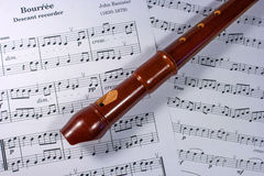 Soprano block flute lies on a music sheet. The tool is made of boxwood, pear, plum Royalty Free Stock Images