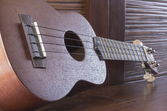Soprano Ukelele. An exotic wooden stringed instrument of the Hawaiian Islands Stock Photos
