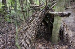 Sopravvivenza della regione selvaggia - capanne dei residui fotografia stock