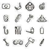 Sopravvivenza Kit Icons Freehand Fotografia Stock