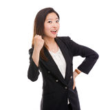 Sopro feliz da exibição da mulher de negócio imagens de stock