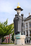 Sopron - Fountain With Statues. Golden cross. Hungary Stock Photo
