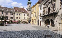 Sopron hungary europe fo ter. View of the main square of sopron fo ter with fire tower Royalty Free Stock Photos