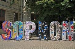 Sopron symbol monument in the centre of city, Hungary. Sopron, Hungary - May 28, 2018: Sopron symbol monument in the centre of city, Hungary stock photo