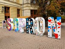 Decorative sign Sopron, Hungary. SOPRON, HUNGARY - SEPTEMBER 24.2017: Decorative sign Sopron advertising local tourist agency. September 24, 2017 in Sopron Royalty Free Stock Image