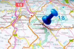 Sopron on map. With push pin. Ödenburg Royalty Free Stock Image