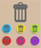 Soptunnasymbol med färgvariationer, vektor Royaltyfria Foton