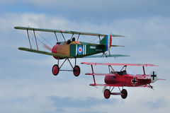 Sopwith Camel and Fokker. Sopwith F.1 Camel replica and Fokker DR1 Triplane replica stock photography