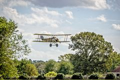 Sopwith Camel Short Final. A British First World War single-seat biplane fighter aircraft introduced on the Western Front in 1917. Camel pilots have been Royalty Free Stock Photos