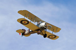 Sopwith Snipe. NORTHILL, UK - AUGUST 2: A replica Sopwith Snipe fighter aeroplane from the WW1 era prepares to land at the Old Warden airfield on August 2, 2015 Stock Photos