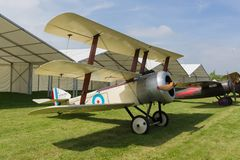 Sopwith Triplane Fighter Plane. Sopwith Triplane replica of a British single seat fighter aircraft used by the Royal Naval Air Service during 1917 in World War stock photography