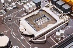 Soquete do processador central do cartão-matriz Fotos de Stock