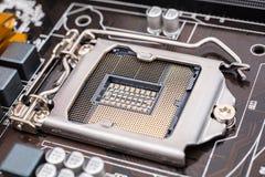 Soquete do processador central do cartão-matriz Fotos de Stock Royalty Free