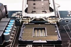 Soquete do processador principal do computador Fotografia de Stock Royalty Free
