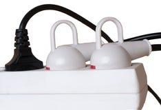 Soquete elétrico e tomada isolados no branco. Fotografia de Stock