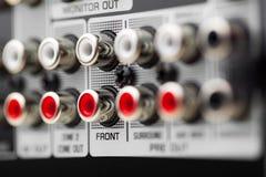 Soquetes de RCA do receptor audio da bordadura Imagens de Stock