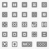 Soquetes e interruptores da alimentação CA Imagens de Stock